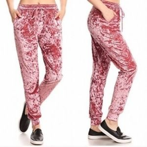 Mosaic & Co Dusty Rose Blush Velvet Joggers Size M